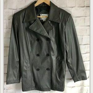 Learsi Pleather Jacket, Dark Green, 3 Button PM